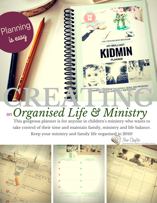 The Brilliant Kidmin Planner is for anyone in children's ministry who wants to keep their ministry, family and personal life organised and in balance in 2016