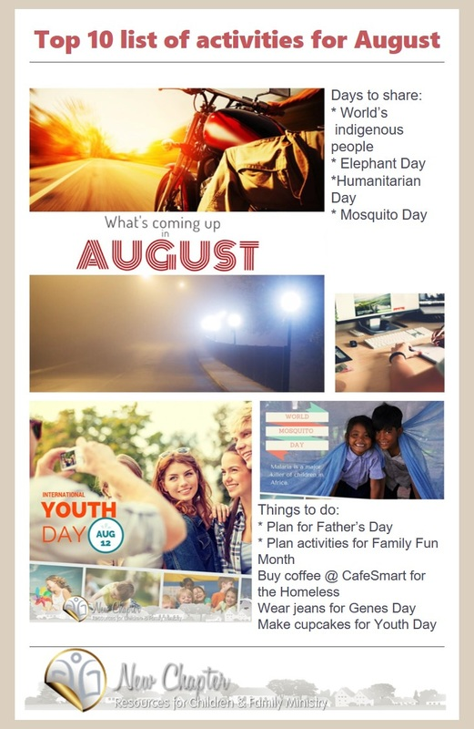 Top 10 list of things to do in August for kidmin