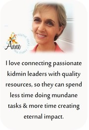 About me- I'm Anne and I love connecting passionate leaders with quality resources, so they can spend less time on mundane tasks and more time creating eternal impact.